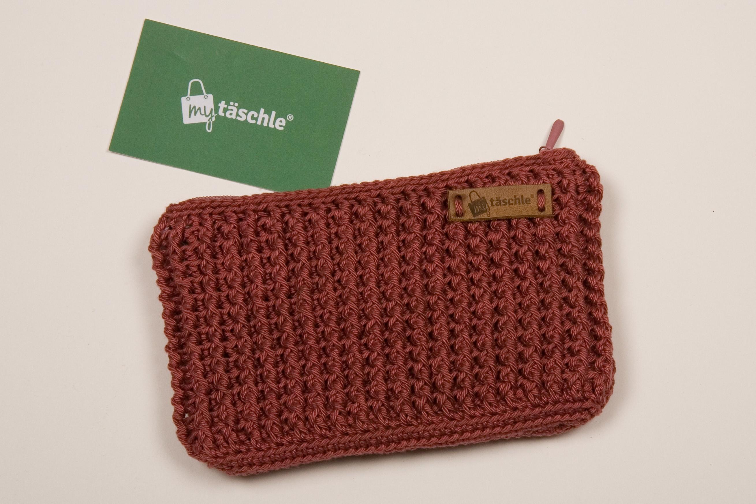 """my täschle als Handytäschle (quer) - Wolle Catania - Farbe """"marsalarot"""""""