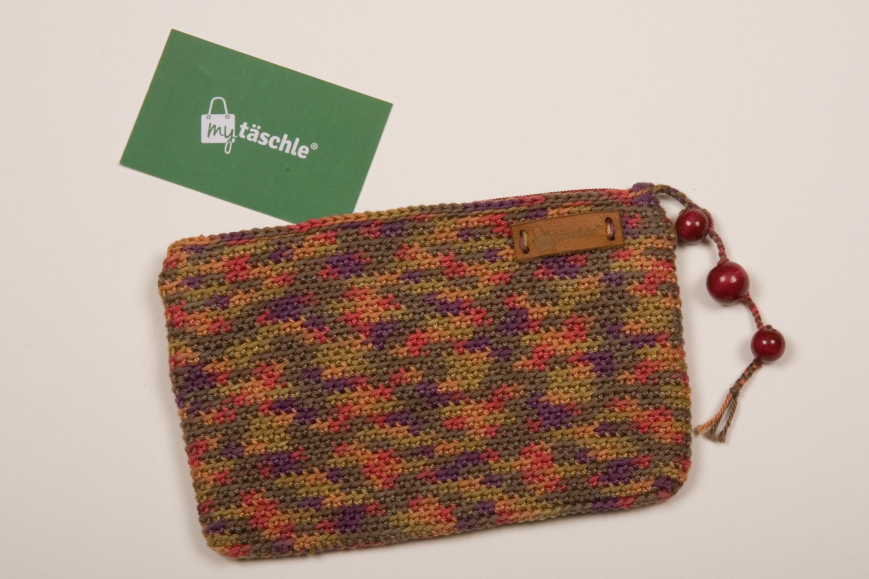 "my täschle als Handytäschle (quer) - Wolle Catania bunt - Farbe ""india"""
